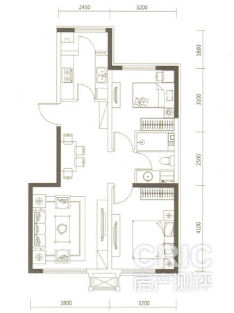 南北通透户型设计,可以保证项目室内的空气流通.图片