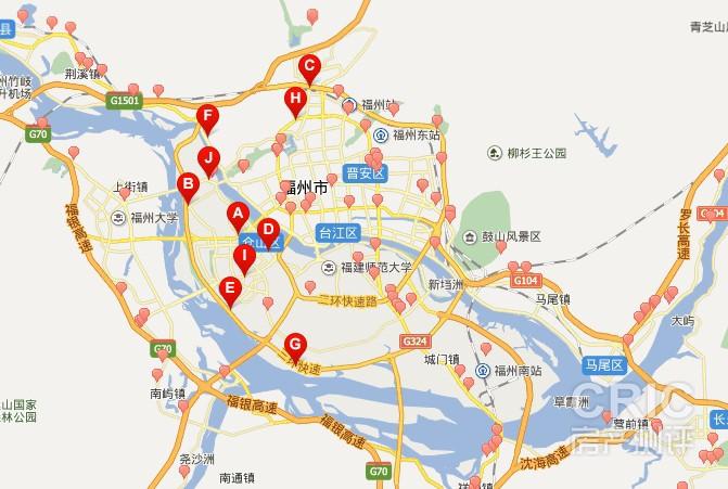 上图就是通过百度地图搜索的福州市加油站分布图