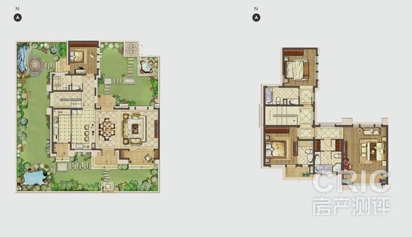 南北花园设计城一个方形和一个加长l型,使院子与整个别墅结合成一个正图片