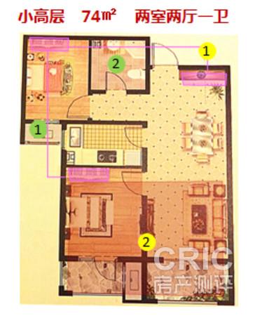 户型图-小高层,74平,两室两厅一卫