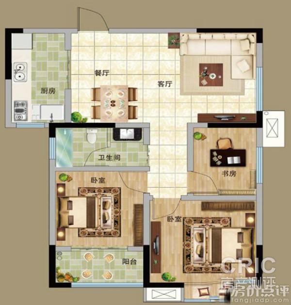 长方形三房一厅设计图图片